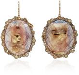 Kimberly McDonald Sapphire and Irregular Natural Brown Diamond Earrings