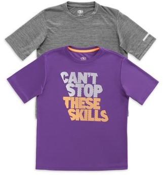 Athletic Works Boys Crewneck Short Sleeve Active & Graphic T-Shirt, 2-Pack Bundle, Sizes 4-18 & Husky