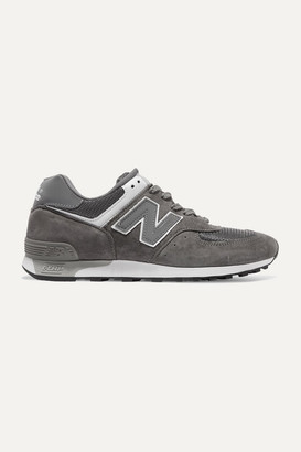 New Balance 576 Suede, Mesh And Leather Sneakers - Gray