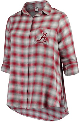 Unbranded Women's Plus Size Concepts Sport Cardinal/Gray Alabama Crimson Tide Forge Rayon Flannel Long Sleeve Button-Up Shirt