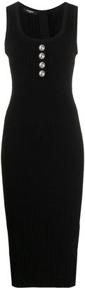 Balmain Ribbed Fitted Midi Dress