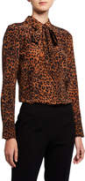 Lafayette 148 New York Plus Size Diana Leopard Print Tie-Neck Silk Blouse