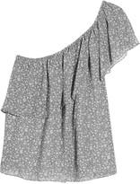 Rebecca Minkoff Rita one-shoulder tiered printed georgette top