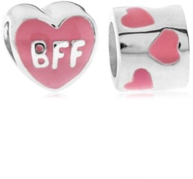 Rhona Sutton 4 Kids Children's Enamel Bff Hearts Bead Charms - Set of 2 in Sterling Silver