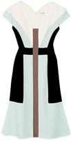 Carolina Herrera Wool Crepe V-Neck Dress