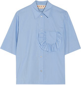 Marni Ruffle-trimmed Cotton-poplin Shirt - Sky blue