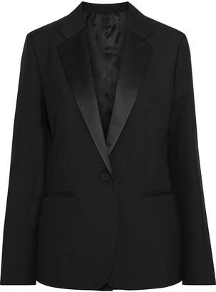 Helmut Lang Satin-trimmed Wool-twill Blazer