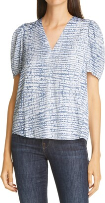 Nordstrom Signature Print Puff Sleeve Stretch Silk Blouse