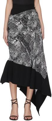 Maticevski 'Recognise' graphic print contrast hem asymmetric skirt