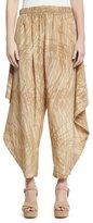 Halston Printed Flowy Ruched Pants, Khaki Botanical