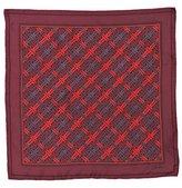 burgundy woven print silk scarf
