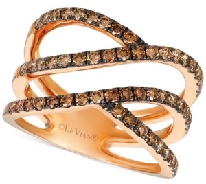 LeVian Le Vian Ombre Chocolate Diamond Multi-Row Statement Ring (1 ct. t.w.) in 14k Rose Gold