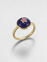 Elizabeth and James Lapis, Ruby and White Topaz Victorian Star Ring