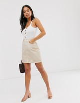 New Look pocket detail cord skirt in stone