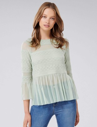 Forever New Olivia Lace Tulle Paneled Top - Calm Green - xxs