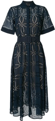 Oscar de la Renta Embroidered Belted Shirt Dress