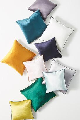 "Anthropologie Adelina Slub Velvet Pillow By in White Size 18"" SQ"