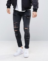 Asos Super Skinny Jeans in 12.5oz With Mega Rips In Washed Black