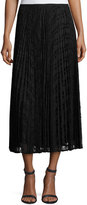 Lafayette 148 New York Dorothy Pleated Devore Midi Skirt, Black