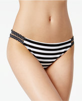 California Waves Mixed-Print Strappy Bikini Bottoms