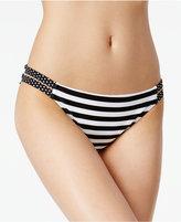 California Waves Mixed-Print Strappy Bikini Bottoms