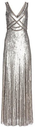 Jenny Packham Sleeveless Sequin V-Neck Gown