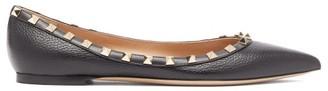 Valentino Rockstud Leather Flats - Womens - Black