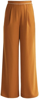Paisie Palazzo Trousers With Subtle Stripes & Waist Piping In Camel