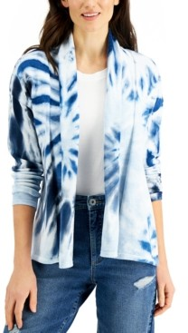 Style&Co. Style & Co Petite Cotton Tie-Dyed Open-Front Cardigan, Created for Macy's
