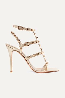 Valentino Garavani Rockstud 105 Metallic Leather Sandals - Gold