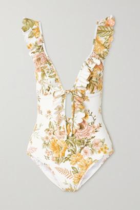Zimmermann Amelie Ruffled Floral-print Swimsuit