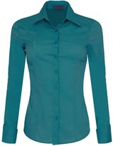 Iron Puppy Womens Long Sleeve Skinny Button Down Collared Shirts With Stretch