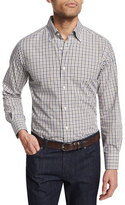 Neiman Marcus Tattersall Long-Sleeve Sport Shirt, White/Camel/Gray