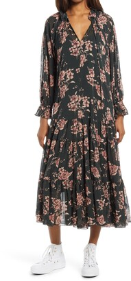 Free People Feeling Groovy Long Sleeve Midi Dress