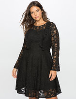 ELOQUII Plus Size Studio Lace Fit and Flare Dress
