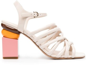 Salvatore Ferragamo Sculptured Heel Strappy Sandals