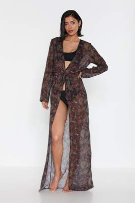 Nasty Gal Womens Paisley The Consequences Cover-Up Kimono - Black - 10