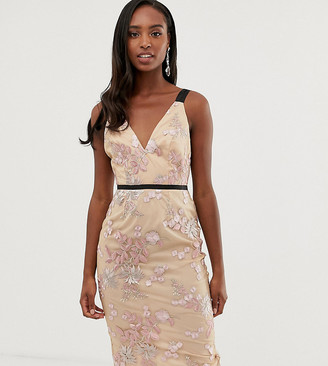 Asos Tall ASOS DESIGN Tall occasion pencil midi dress in floral embroidery