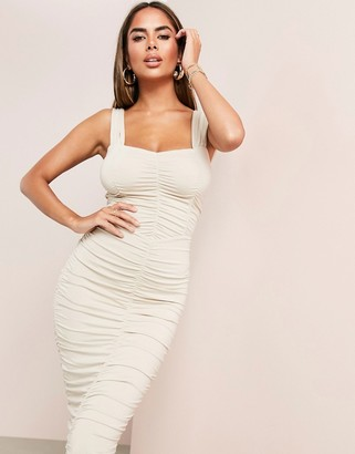 Asos Design ASOS LUXE sweetheart neckline ruched midi bodycon dress in stone