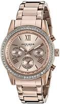 Akribos XXIV Women's AK872RG Round Ion-Plated Crystal Accent Watch