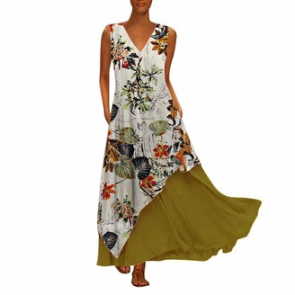 Gofodn Dresses for Women Plus Size Vintage V Neck Splicing Floral Printed Sleeveless Maxi Dress Yellow