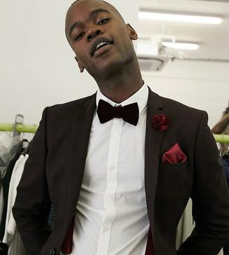 ASOS DESIGN Tall wedding skinny suit jacket in wool look in burgundy