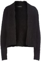 August Silk Black Textured Open Cardigan