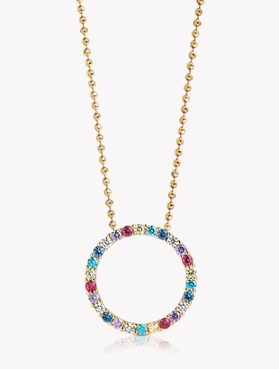Sif Jakobs Jewellery Cubic Zirconia Open Centre Round Chain Pendant Necklace, Gold/Multi