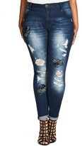 City Chic Plus Size Women's Embellished Destroyed Skinny Jeans