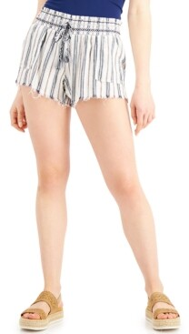 Rewash Juniors' Striped Frayed-Hem Shorts