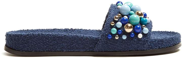 Aquazzura Bon Bon embellished terry-towelling slides