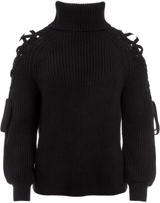 Alice + Olivia Lace-Up Roll Neck Jumper