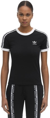 adidas Striped Cotton T-shirt W/ Logo Detail