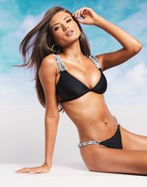 Asos Design DESIGN FULLER BUST SWIM GLAM high shine marble chain strap bikini top